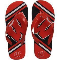 98d3a41173c5c2 Wisconsin Badgers Big Logo Flip Flops - Cardinal