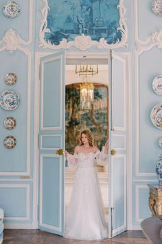 """From the editorial """"A Whimsical Marie Antoinette-Inspired Editorial in Soft French Blue Hues."""" This Paris shoot is just so stunning, we're swooning over every little detail- especially the touches of French blue and this DRESS!  Photography: @stellayangphoto  #pariswedding #weddingshoot #weddinggown #bluewedding #whimsicalweddingdetails Paris Wedding, Blue Wedding, Bridal Beauty, Wedding Beauty, Wedding Shoot, Wedding Gowns, Ethereal Wedding Dress, French Blue, Marie Antoinette"""