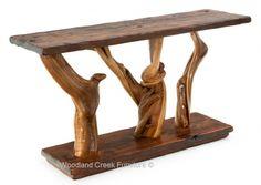 "Sofa Table Lodge - Rustic Juniper Sofa Table - Item #ST04405 - 60""W x 18""D x 33""H – $1495 - 2014 - Wood Land Creek Furniture - 2014"