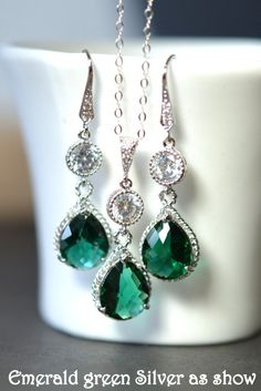 Maybe too bling with earring and necklace  Bridesmaid jewelry Green emerald  silver by thefabjewelrywedding, $69.99