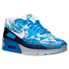 Men's Nike Air Max 90 Ice Running Shoes | FinishLine.com | Barely Blue/White/Photo Blue