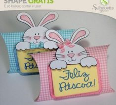 FREE DIY 3D cut file --»Shape 55: Speaker Pillow Easter Baby party box favour Summer Spring Birthday bunny- Silhouette Brazil