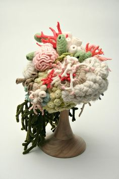 This is absolutely stunning, I want one! Coral Garden Hat by artist Gooseflesh, beautiful organic artistc crochet work