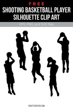 Free shooting basketball player silhouette clip art in EPS, PNG (transparent), and SVG formats. Basketball Shirt Designs, Free Basketball, Basketball Shirts, Basketball Players, Sports Shirts, Air Explorer, Silhouette Clip Art, Cricut Craft Room, Cricut Air