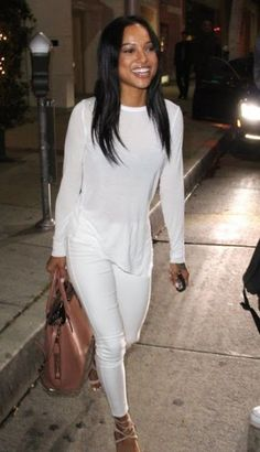 Karreuche Tran is one my favorites right now. This girl is gorgeous and has a killer stlye! All White Outfit, White Outfits, Fall Outfits, Summer Outfits, Karrueche Tran, Mode Outfits, Fashion Outfits, Fashion Moda, Womens Fashion
