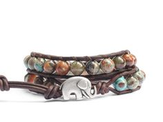 the lucky elephant leather wrap bracelet - Natural Stone on Brown Leather with GOOD LUCK ELEPHANT.