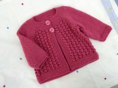 Newborn pink baby cardigan, hand knitted wool sweater, handknit fit to 3 months