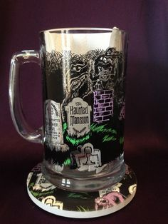 MATCHING SET! Haunted Mansion Glass Beer Mug with Matching Coaster! Click the link for more details!