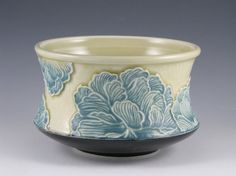 Peony Bowl in Blue and Yellow by MSPottery