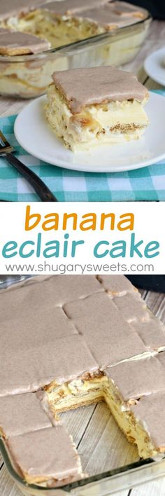 Layers of cinnamon graham crackers, vanilla pudding and fresh banana make this no bake Banana Eclair Cake a huge summer hit! To top it off, I literally topped it off a cinnamon glaze!