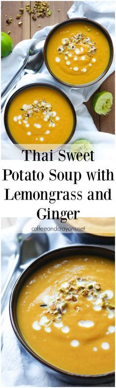 Thai Sweet Potato Soup with Lemongrass and Ginger. Smooth, creamy and SO good for you! via coffeeandcrayons.net