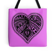 Zentangle Valentine Heart 3 - Choose Your Own Background Colour on a range of items with this design at Heatherian at Redbubble http://www.redbubble.com/people/heatherian/works/13623266-zentangle-valentine-heart-3-choose-your-own-background-colour?p=tote-bag