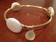Bourbon and Boweties White Pearl Bangle