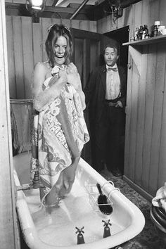 """Carol White and John Mills Bath Interrupted 2 by Terry O'Neill - British actress Carol White and actor John Mills star in 'Dulcima', a British drama film directed by Frank Nesbitt in 1971 - Limited Edition Silver Gelatin Signed and Numbered - 12"""" x 16"""" / 16"""" x 20"""" - 20"""" x 24"""" / 20"""" x 30"""" - 24"""" x 34"""" / 30"""" x 40"""" - 40"""" x 60"""" / 48"""" x 72"""" - For questions or prices please contact us a info@igifa.com"""