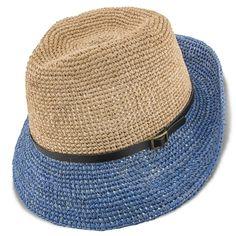 Scala LR687 Crocheted Raffia Straw Fedora Hat