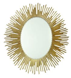 Shimmering antique gold leaf sunburst radiate from the Bernhardt Salon Oval Wall Mirror - x in. , lending glamour to your space. Gold Sunburst Mirror, Round Wall Mirror, Wall Mounted Mirror, Beveled Mirror, Mirror Glass, Mirror Mirror, Magic Mirror, Wall Mirrors, Wood Mirror