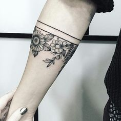Next-gen temporary tattoos. Test drive your next tattoo with the most realistic, custom temporary tattoos available. Forearm Band Tattoos, Line Tattoos, Body Art Tattoos, Small Tattoos, Flower Tattoos On Arm, Sleeve Tattoos, Cuff Tattoo, Tattoo Band, Piercing Tattoo
