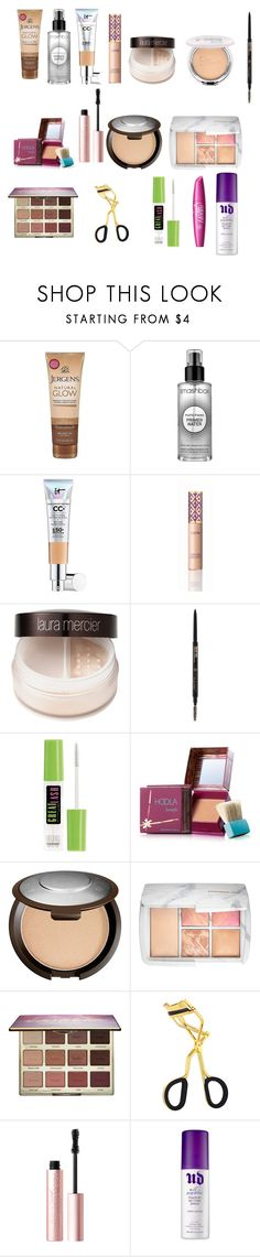 """"" by ashleybrooke-iii ❤ liked on Polyvore featuring beauty, Jergens, Smashbox, It Cosmetics, tarte, Laura Mercier, Maybelline, Benefit, Sephora Collection and Too Faced Cosmetics"