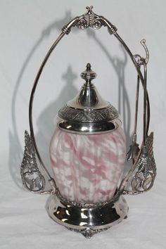 """RARE Pink Frosted """"End-of-the-Day"""" Ribbed Victorian Pickle Castor"""