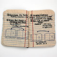 Candace Hicks's Embroidered Books http://www.goldenfingers.info/candace-hickss-embroidered-books/