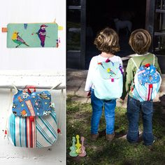 Toddler Backpack and pencil case. Colorful japanese fabrics, beatiful details…
