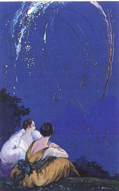 Corbella, 1925 ❤ I so love old paintings of fireworks!