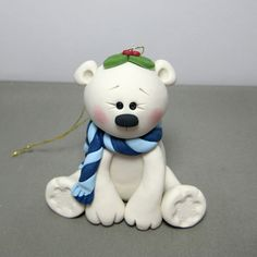 *POLYMER CLAY ~ Reserved for Carol Winter Polar Bear polymer clay ornament. This is sold out but thought it was so cute. Fimo Polymer Clay, Crea Fimo, Polymer Clay Ornaments, Polymer Clay Animals, Polymer Clay Projects, Polymer Clay Creations, Clay Crafts, Clay Bear, Clay Fox