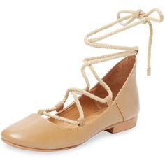 Kelsi Dagger Kelsi Dagger Women's Deandra Lace-Up Ballet Flat - Camel... (€71) ❤ liked on Polyvore featuring shoes, flats, camel, leather ballet flats, lace up flats, ballet flats, camel ballet flats and ballerina shoes
