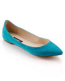 Turquoise Suede Flats.