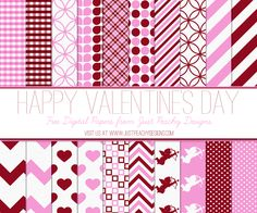 Free Valentine's Day Digital Paper - 20 page set of 12x12 inch digital papers in a variety of patterns - including hearts, cupids, polka dots, chevron and gingham.  Perfect for any of your Valentine's Day, anniversary or romance themed scrapbooking or paper-crafting projects.   **Just click the above image to download** Feel free to use for any scrapbooking, crafting and digital design projects.  Commercial use OK provide link-back.