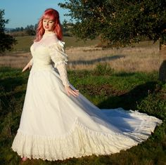 Vintage 70s Wedding Dress in Lace and Chiffon with Dropped Waist and Train for sale by DaintyRascal, $245.00 70s Wedding Dress, Wedding Gowns, Dress For You, New Dress, Vintage Dresses For Sale, Illusion Neckline, Chiffon Skirt, Lace Overlay, Vintage 70s