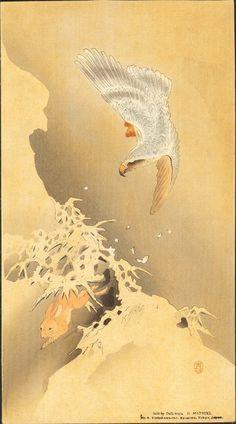 Goshawk and Rabbit by Ohara Koson