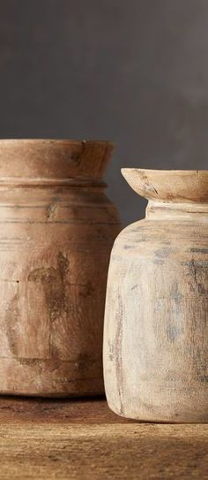 Discovered in India, these vintage, reclaimed wood vases feature naturally aged patinas that tell their unique history in every detail. Originally used to store food or grain, each piece will vary, ensuring no two vases will appear exactly alike. #rusticdecor #farmhousedecor #farmhousevases Farmhouse Vases, Rustic Farmhouse, Rustic Light Fixtures, Rustic Lighting, Log Home Living, Wood Vase, Vintage Wood, Rustic Furniture, Basket Weaving