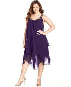SL Fashions Plus Size Sleeveless Tiered Shift - Dresses - Plus Sizes - Macy's Curvy Girl Fashion, Fashion Mode, Plus Size Fashion, Plus Size Black Dresses, Plus Size Outfits, Plus Size Flapper Dress, Vestidos Plus Size, Looks Plus Size, Plus Size Kleidung