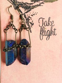 All Chained Up! Antiqued Brass Chains & Blue Rainbow Flame Aura Titanium Crystal Quartz Points Earrings TAKE FLIGHT by TakeFlightStudioWA on Etsy