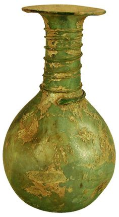 Ancient Roman green glass iridescent bottle with rolled rim, linear wrap design on neck