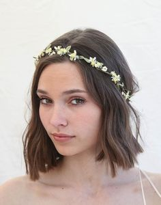 Flower Crown In Yellows or Pink and Lavender, Wedding Halo, Small Floral Headbands, Bridesmaids Hair Accessory, Flower Girl Headpiece Flower Girl Halo, Flower Girl Headpiece, Flower Crown Wedding, Pink Green Wedding, Pink Wedding Theme, Pink And Green, Green Weddings, Dream Wedding, Flower Girl Wreaths