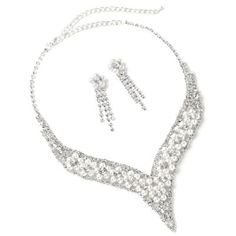 #jeweltweets Silver Crystal Rhinestone V Neck Shape with White Pearl Flower Shape Necklace with White Pearl Flower Shape and Crystal Rhinestone Dangle Earrings Set
