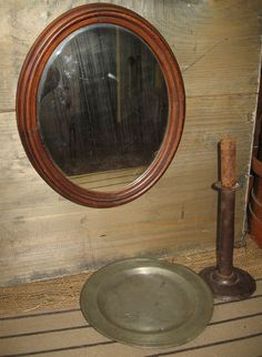 Vintage Victorian/Primitive Walnut Framed Oval Mirror Deep Frame ca: 1800s #NaivePrimitive