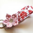 Key Fob Fabric Key Chain Floral Wristlet in Red and White Floral