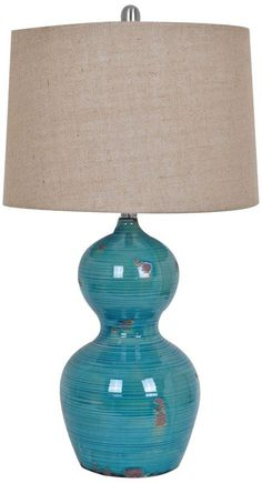 Crestview Collection Blue Bay Turquoise Ceramic Table Lamp -