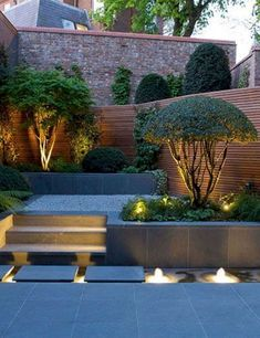 Landscape Lighting Idea for Water Modern Landscape Lighting Design Ideas Bringing Beauty and Security into Homes 31 Creative Ideas Of Landscape Lighting for Dramatic Ba. Small Garden Landscape, Small Backyard Gardens, Small Backyard Landscaping, Landscape Plans, Modern Landscaping, Outdoor Gardens, Landscaping Ideas, Outdoor Patios, Backyard Ideas