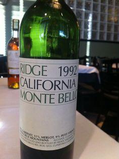 Classic California Cabernet Sauvignon from Ridge's Monte Bello Vineyard...One of my favorites!