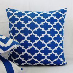 Cobalt Royal Blue Geometric Pillow Cover Decorative Throw White 16x16 18x18 20x20 22x22 12x16 12x18 12x20 14x22 Lumbar Sofa Couch Zipper