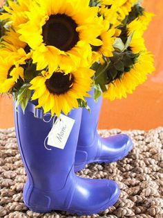 A lovely way to display Sunflowers