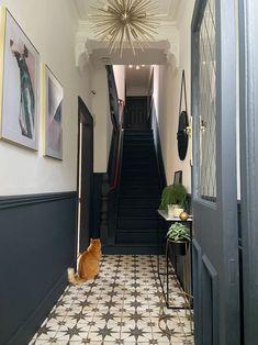 Hall Tiles, Tiled Hallway, Hallway Walls, Dark Hallway, Hallway Wall Decor, Modern Hallway, Long Hallway, Dado Rail Hallway, Victorian Hallway Tiles