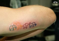 colorful elephants tattoo
