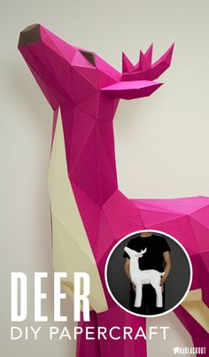 Deer DIY 3D Papercraft | Make your own 3D paper model deer with this PDF template and assembly guide. Customise your own choice of colours.  Beautiful home decor papercraft project for Christmas from KaBlackout.