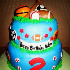 Sports Cake - I'll do bottom tier soccer ball, second tier jerseys, and happy birthday and balls and hockey stick on top.