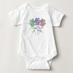 Water Color Flowers - Baby Bodysuit - baby shower ideas party babies newborn gifts